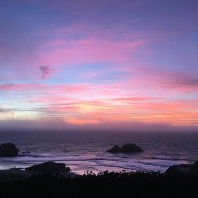 ocean beach at dusk with shirpa shainy